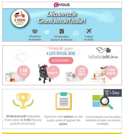 Les Jeux concours gratuits du moments pour Gagner des Cadeaux